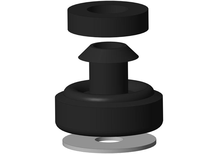 Gummielement 3-teilig schallschutzgeprüft